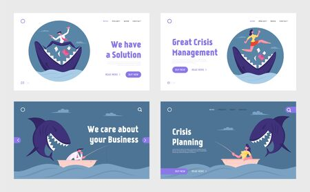 Risk Management, Dangerous Situation, Aggression in Business Website Landing Page. Businesspeople Escape Shark Attack Illustration