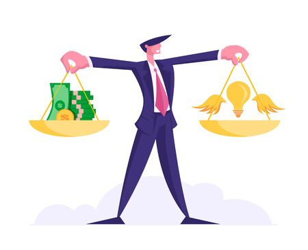 Idea Bring Money Concept. Cheerful Businessman Holding Gold Weights with Stack of Coins and Banknotes