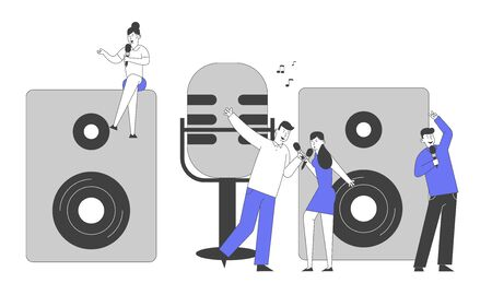 Holidays and Recreation Concept. Young People Dancing and Singing in Karaoke Club. Tiny Male and Female Characters Illustration
