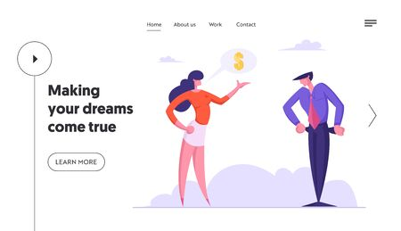 Bankruptcy and Financial Crisis Website Landing Page. Businesswoman Demand Finance from Businessman with No Money Showing Empty Pockets Turned Out Web Page Banner. Cartoon Flat Vector Illustration Ilustração