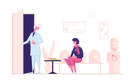 Woman Patient Sitting in Clinic Lobby on Couch, Hall Interior Waiting Doctor Appointment. Practitioner Inviting Patient for Medical Check Up and Treatment, Health Care Cartoon Flat Vector Illustration Ilustrace