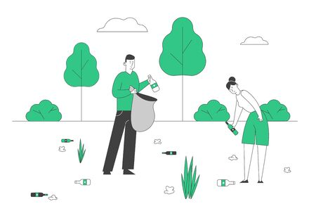 People Collecting Trash into Bag. No Plastic Pollution, Save Nature Concept. . Volunteers Clean Up Wastes and Garbage in Park. Ecology Environment Protection Cartoon Flat Vector Illustration, Line Art