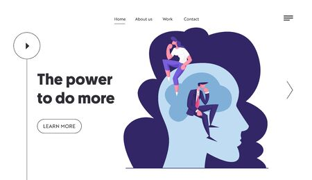 Creative People Brainstorm and Searching Solution Website Landing Page. Businessman and Businesswoman Sitting on Huge Human Head in Thinking Posture Web Page Banner. Cartoon Flat Vector Illustration