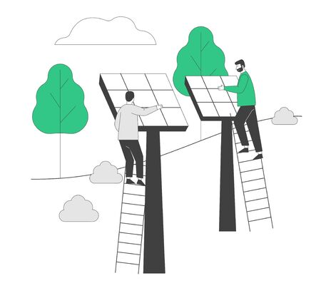 Renewable Green Energy. Men Stand on Ladders Set Up Solar Panels. People Using Power of Sun for Clean Electricity