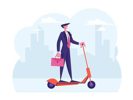 Self Confident Business Man in Formal Clothing Holding Briefcase Riding Electric Scooter Hurry at Work Ilustrace