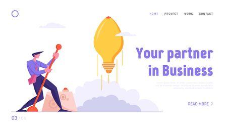 Financial Idea Strategy Realization Website Landing Page. Businessman Launch Light Bulb in Shape of Rocket Push Lever Arm