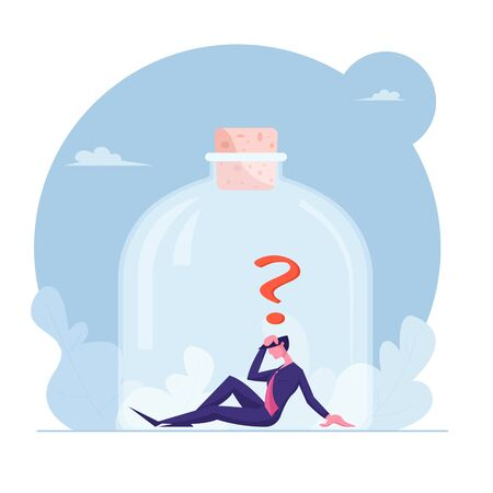 Stressed Depressed Businessman Trapped Inside Jar Closed with Cork Sit on Bottom with Question Mark above Head. Frustration, Work Problem, Hopeless Situation Concept Cartoon Flat Vector Illustration