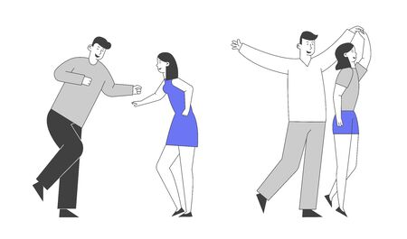 Young Girl and Man Couple Visiting Night Club Dancing Holding Hand . Friends Having Fun Leisure, People Nightlife Clubbing, Active Hobby Recreation, Leisure Cartoon Flat Vector Illustration, Line Art