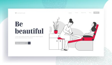 Woman Visiting Pedicure Salon for Beauty Procedure Website Landing Page. Master Polishing and Care for Nails to Client Girl Sitting in Chair Web Page Banner. Cartoon Flat Vector Illustration, Line Art 向量圖像