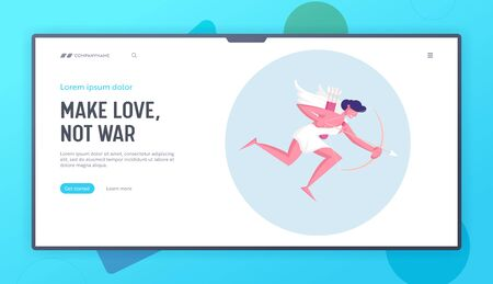 Happy Valentines Day Character Website Landing Page. Cupid with Wings Wearing White Toga Flying in Sky with Bow and Arrow Searching Aim for Shooting Web Page Banner. Cartoon Flat Vector Illustration