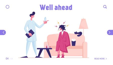 Doctor Visiting Sick Patient at Home Website Landing Page. Unhappy Weak Woman with Thermometer in Mouth Sitting on Couch Need Take Pills for Recovery Web Page Banner. Cartoon Flat Vector Illustration Banco de Imagens - 138134873