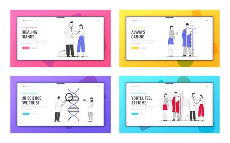 Seasonal Sickness, Dna Science, Health Care Website Landing Page Set. Sick Person Has Cold. Treatment with Medicine and Hot Drink, Genetics Web Page Banner. Cartoon Flat Vector Illustration, Line Art