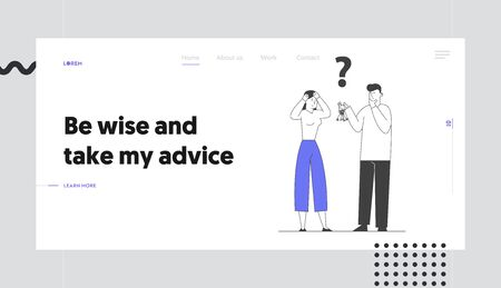 Searching Solution, Forgot Password Website Landing Page. Confused Woman Holding Head, Man with Bunch of Keys and Question Mark above Head Web Page Banner. Cartoon Flat Vector Illustration, Line Art Ilustrace