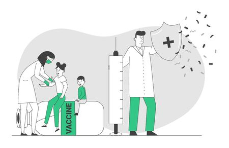 Medical Vaccination Concept. Doctor Holding Shield and Syringe Protecting Nurse Making Vaccine Dose Shot to Kids Protecting from Viruses. Health Immunization Cartoon Flat Vector Illustration, Line Art