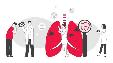 Respiratory Medicine, Pulmonology Healthcare Concept. Doctors Check Human Tuberculosis Lungs with Magnifying Glass, Make X-ray. Medical Pulmonological Care Cartoon Flat Vector Illustration, Line Art