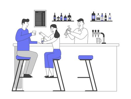 People Visiting Night Club Concept. Male and Female Characters Sit at High Chairs Drinking Beverages on Bar Counter with Barman Making Cocktail in Restaurant Cartoon Flat Vector Illustration, Line Art Vetores
