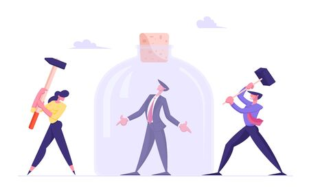 Troubled Businessman Stuck in Closed Jar. Man and Woman Colleagues Punch Glass with Hammers. Difficult Task, Stress Deadline, Office Worker Frustration, Career Burnout Cartoon Flat Vector Illustration Çizim