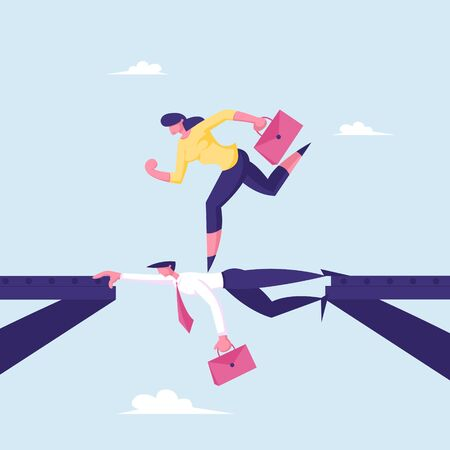 Business Woman Overcome Abyss Going by Back of Businessman like on Bridge, Challenge, Social Climber, Careerist Reach Goal, Businesswoman, Girl Manager Walk over Heads Cartoon Flat Vector Illustration