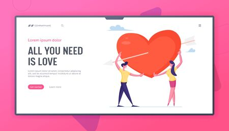 Human Relations, Love, Romantic Dating Website Landing Page. Loving Couple Share Huge Red Heart Pierced with Cupid Arrow Spending Time Together Web Page Banner. Cartoon Flat Vector Illustration Çizim