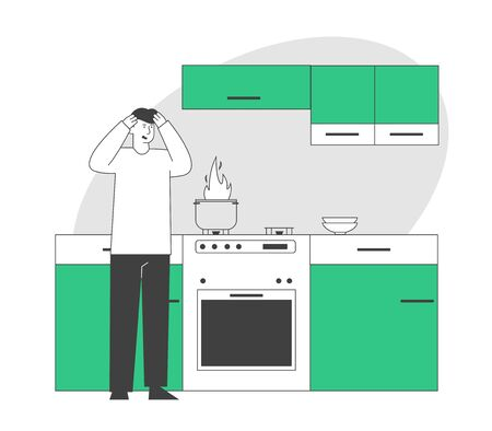 Frightened Man Stand at Oven with Burning Fire in Pan. Household Character Every Day Routine, Weekend Chores Housekeeping Process Unhappy Culinary Experience Cartoon Flat Vector Illustration, Line Art 일러스트