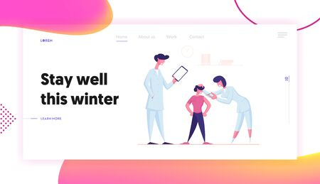 Immunity Medication Website Landing Page. Child Visiting Hospital for Vaccination and Immunization Procedure. Friendly Doctor Shooting Vaccine to Boy Web Page Banner. Cartoon Flat Vector Illustration Çizim