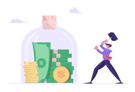 Money Saving Concept. Business Man Hitting Huge Glass Jar with Hammer going to Take Coins and Bills from Moneybox. Financial Investment Deposit, Finance Problems. Cartoon Flat Vector Illustration Çizim