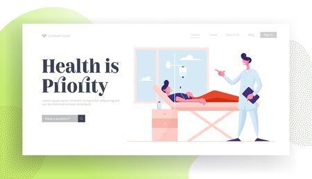 Medical Check Up, Sick Man Recovery Process Website Landing Page. Doctor in Medical Robe Visiting Patient Lying with Dropper in Bed at Hospital Chamber Web Page Banner Cartoon Flat Vector Illustration