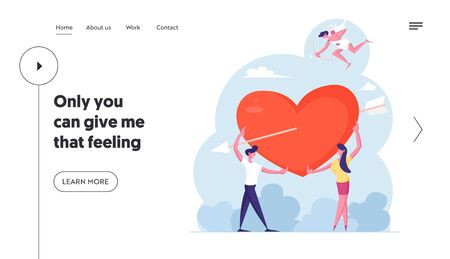 Man and Woman Fall in Love Website Landing Page. Cheerful Cupid Flying in Sky with Bow Aiming to People. Young Couple Share Huge Red Heart with Arrow Web Page Banner. Cartoon Flat Vector Illustration
