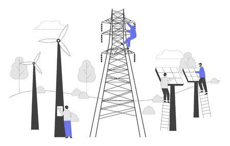 Sustainable Green Energy Development, Environmental and Ecology Protection Concept. New Technologies Integration into Human Life. Solar Panels Windmills Electric Tower Cartoon Flat Vector Illustration