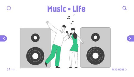 Weekend Sparetime, Creative Hobby, Corporate Party Celebration Landing Page. Couple Singing Song with Microphones Illustration