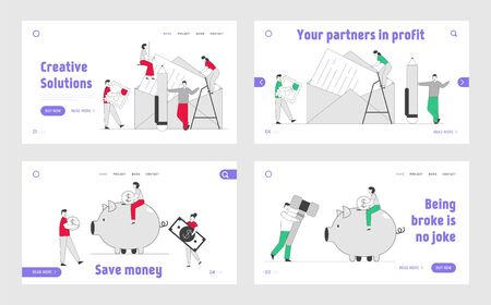 People Writing Letters, Financial Savings, Deposit Website Landing Page Set. Characters Put Mail to Envelope, Put Money in Piggy Bank Budget Web Page Banner. Cartoon Flat Vector Illustration, Line Art Çizim