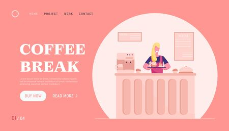 Cafe Staff Saleswoman Invite Customers to Try Fresh Bakery Website Landing Page. Woman Holding Tray with Teapot and Cake Stand at Desk in Bakery Shop Web Page Banner. Cartoon Flat Vector Illustration