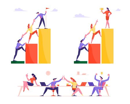 Set of Business People Climbing Up Financial Graph and Chart Stairs Set Up Flag on Top. Career Ladder with Characters. Team Work, Challenge Partnership and Leadership Cartoon Flat Vector Illustration Archivio Fotografico - 138293111