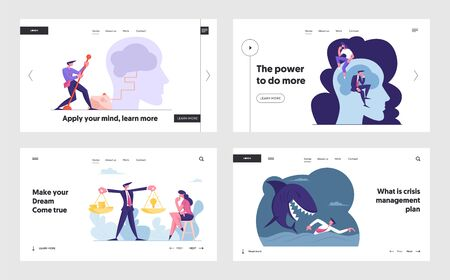 Innovative Idea, Brainstorm Activity, Risk Management Website Landing Page Set. Businesspeople Light Up Brain, Money and Insight Scales, Escape Crisis Web Page Banner. Cartoon Flat Vector Illustration  イラスト・ベクター素材