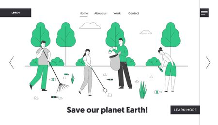 Ecology Protection Social Charity Website Landing Page. Volunteers Clean Garbage in City Park Area, Collecting Trash to Sacks Racking Ground Web Page Banner. Cartoon Flat Vector Illustration, Line Art Archivio Fotografico - 138293789