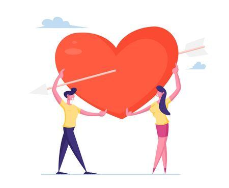 Loving Couple Share Huge Red Heart Pierced with Cupid Arrow. Human Relations, Love, Romantic Dating. Male and Female Newlywed Characters Spending Time Together. Cartoon Flat Vector Illustration Çizim