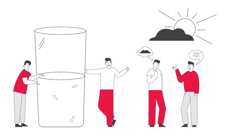 Men with Bad and Good Thoughts in Head Stand at Huge Half Full or Empty Glass with Water. Positive and Negative Thinking Pessimist and Optimist People Concept Cartoon Flat Vector Illustration Line Art