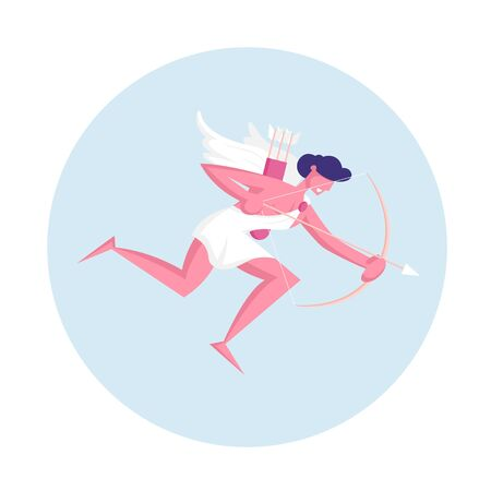 Cheerful Man Cupid with Wings Wearing White Toga Flying in Sky with Bow and Arrow Searching Aim for Shooting Banco de Imagens - 138295336