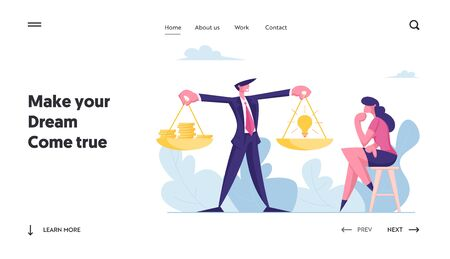 Alternative Choice, Investment Assistance Landing Page. Businessman Holding Golden Scales with Coins and Light Bulb