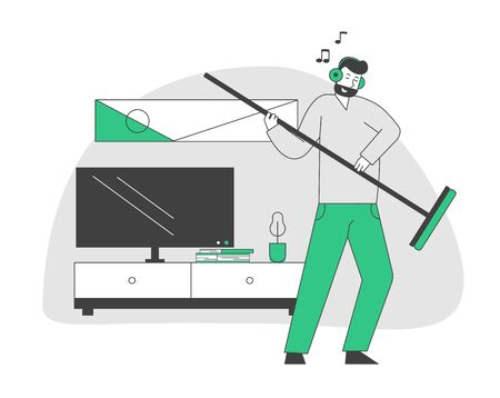 Male Character in Headset Listening Music and Dancing with Broom as it is Electric Guitar while Cleaning Home Living Room. Domestic Work, Man Sweeping Floor. Cartoon Flat Vector Illustration, Line Art