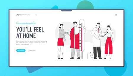 Illness, Health Care Website Landing Page. Patients Man and Woman Visit Clinic or Hospital for Doctor Appointment