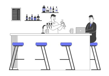 Man Visiting Night Club, Nightlife Spare Time. Male Character Sit at High Chair Drink Beverages and Work on Laptop on Bar Counter with Barman Shake Cocktail Cartoon Flat Vector Illustration, Line Art Ilustração
