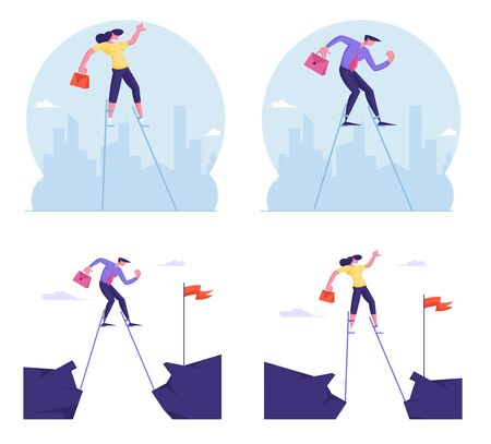 Set of Businesspeople Overcoming Obstacles Crossing Abyss on Stilts to Get Red Flag and Achieve Goal. Career Boost, Task Solution, Business Competition, Leadership Cartoon Flat Vector Illustration