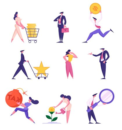 Set of Businesspeople in Different Situations Isolated on White Background. Businesswoman Pushing Trolley with Money, Grow Plant, Pay Tax, Businessman Searching Idea. Cartoon Flat Vector Illustration