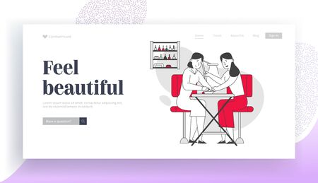 Woman Visit Beauty Salon Website Landing Page. Master Doing Manicure Procedure for Girl. Fashion Spa Body Care Club with Professional Devices Web Page Banner. Cartoon Flat Vector Illustration Line Art