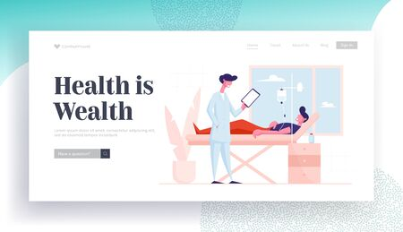 Health Care Appointment Website Landing Page. Man Lying in Clinic Department Chamber in Hospital Apply Dropper Treatment. Doctor Stand near Patient Bed Web Page Banner Cartoon Flat Vector Illustration