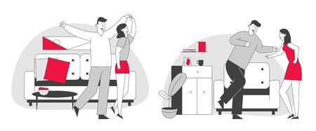 Set of Young Loving Couple Dance Having Home Party. Partners Attentive to Each Other Mutual Sympathy. Man and Woman Fooling, Dancing to Music, Moving Body Cartoon Flat Vector Illustration, Line Art