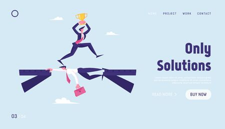 Strongest will Survive Website Landing Page. Business Man with Gold Goblet Running over Head of Colleague Lying like Bridge. Businessman Career Growth Web Page Banner. Cartoon Flat Vector Illustration
