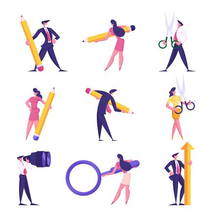 Set Businesspeople with Different Stationery. Businessmen and Businesswomen Holding Huge Pencil, Scissors Magnifying Glass Arrow, Looking to Binoculars. Office Workers Cartoon Flat Vector Illustration
