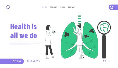 Tuberculosis Website Landing Page. Doctor with Magnifier Search Bacteria and Mycobacterium in Lungs, Listening Breathing with Stethoscope Web Page Banner. Cartoon Flat Vector Illustration, Line Art